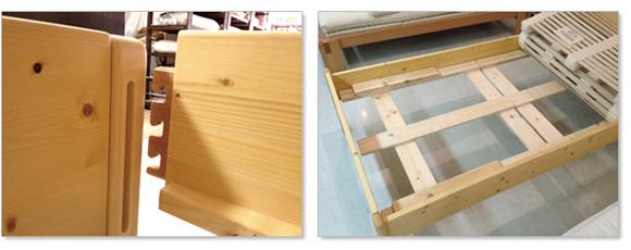 リラックス社のベッドフレームはドイツのヒノキから手作りで作られています。