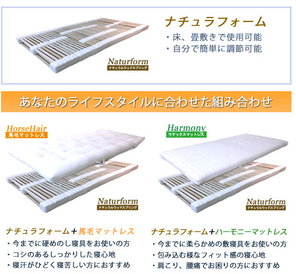 畳敷のマットレスシステムのナチュラフォームのマットレス組み合わせ