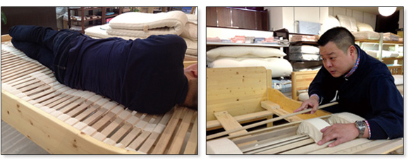 ナチュラフレックスはベッドマイスターの調整で身体にフィットするセミオーダーのようなウッドスプリングです。